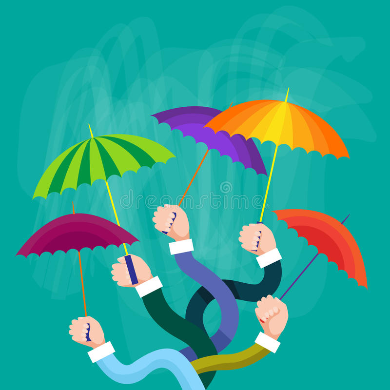 Hands Group Holding Colorful Umbrellas, Support Concept. Flat Vector Illustration stock illustration