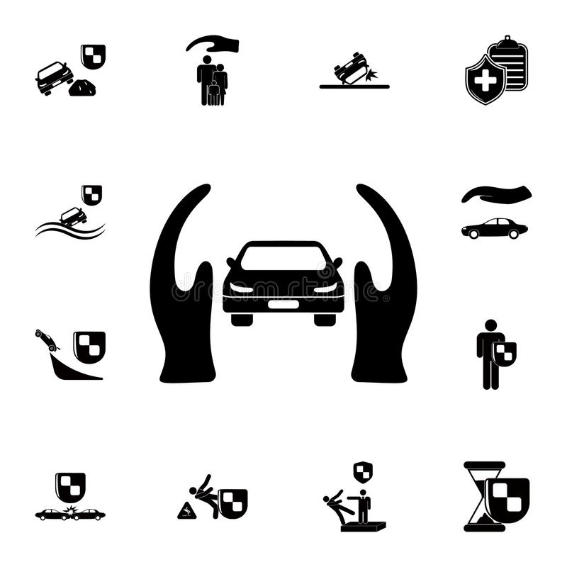 Hands guard car icon. Detailed set of insurance icons. Premium quality graphic design sign. One of the collection icons for websit. Es, web design, mobile app on royalty free illustration