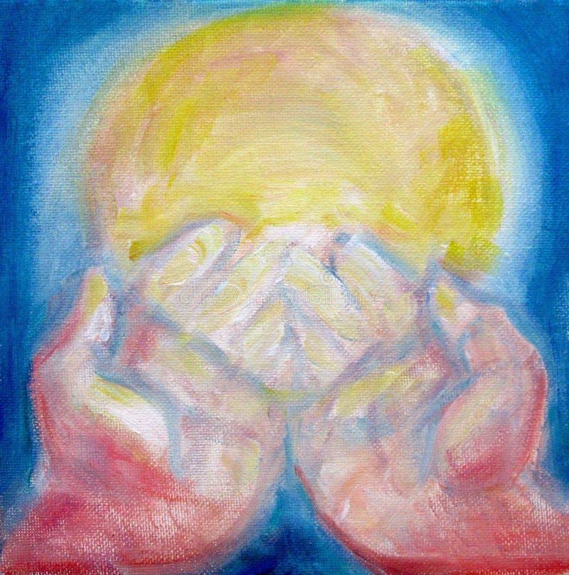 Hands of healing light vector illustration