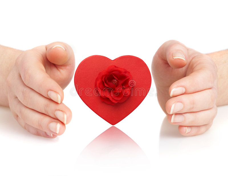 Hands and heart royalty free stock photos