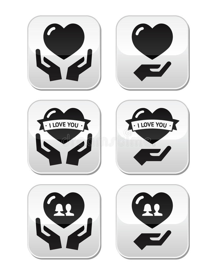 Download Hands With Heart, Love, Relationship Buttons Set Stock Illustration - Image: 33861177