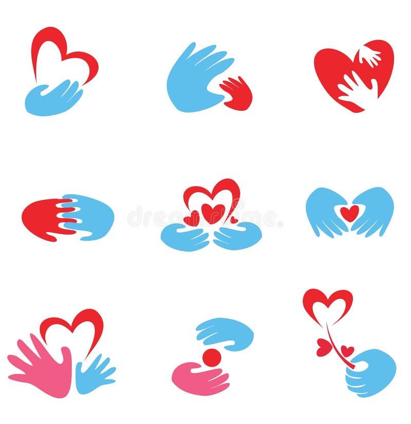 Hands and heart set of symbols vector illustration