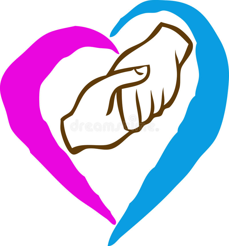 Hands with Heart. Shaking hands show the love vector illustration