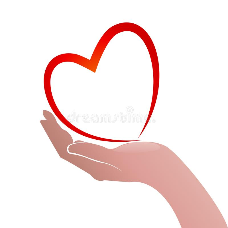 Hands heart shape icon concept of helping people logo. Hands heart shape icon concept of helping and charity for sick people logo template background artwork stock illustration