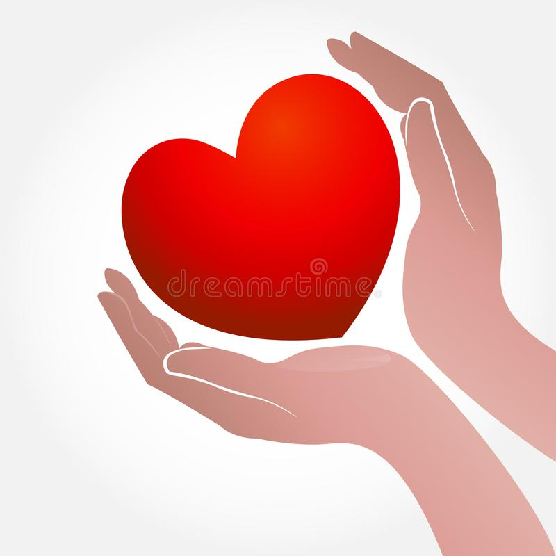 Heart and hand concept of helping and charity or sick people icon logo vector. Hands heart shape icon concept of helping and charity for sick people logo vector royalty free illustration