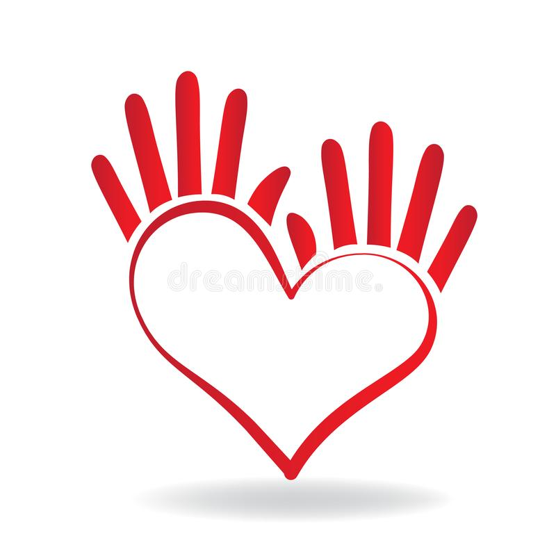 Hands heart shape icon concept of helping people logo vector. Hands heart shape icon concept of helping and charity for sick people logo vector template royalty free illustration