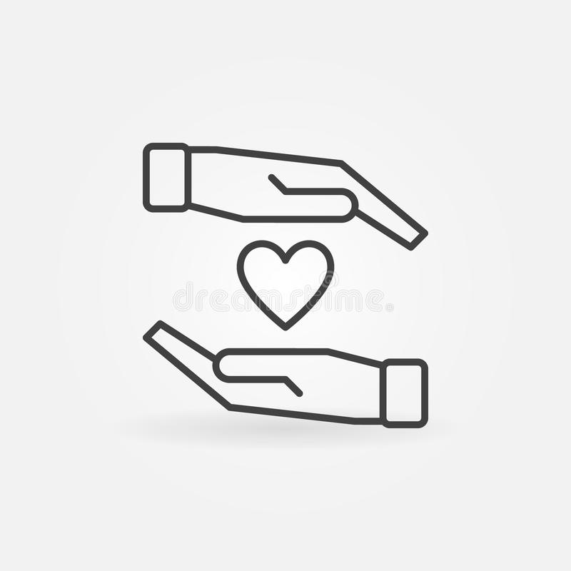 Hands with heart vector icon in thin line style vector illustration