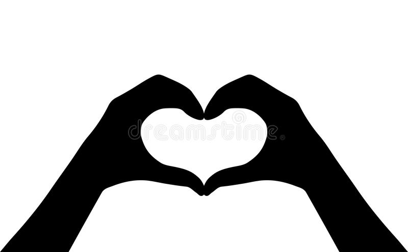 Hands heart vector silhouette icon stock illustration