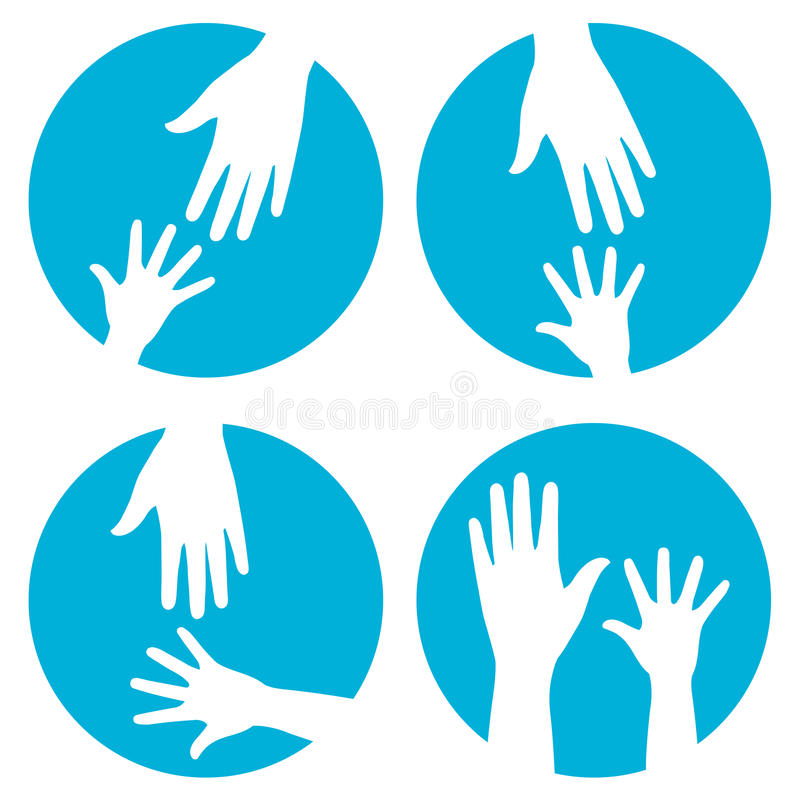 Hands help - icon set. White vector child hand and adult hand in blue circle button on white background - parents care, help, love and protection