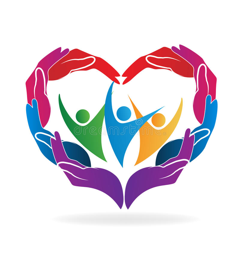 Hands helping people heart shape. Vector image vector illustration