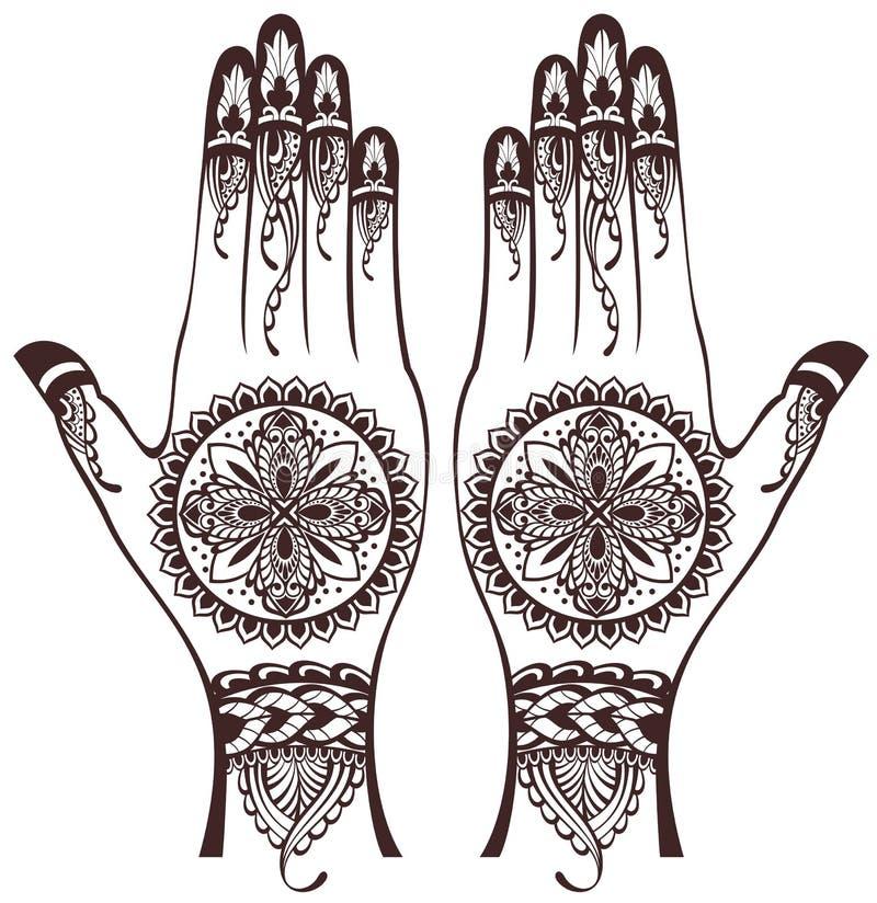 hands with henna tattoos stock vector illustration of brown 50855967 rh dreamstime com Henna Drawings Designs Henna Mandala