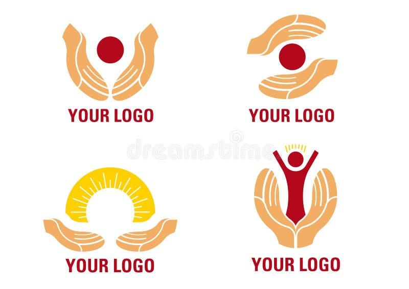 hands hjälpande logo stock illustrationer