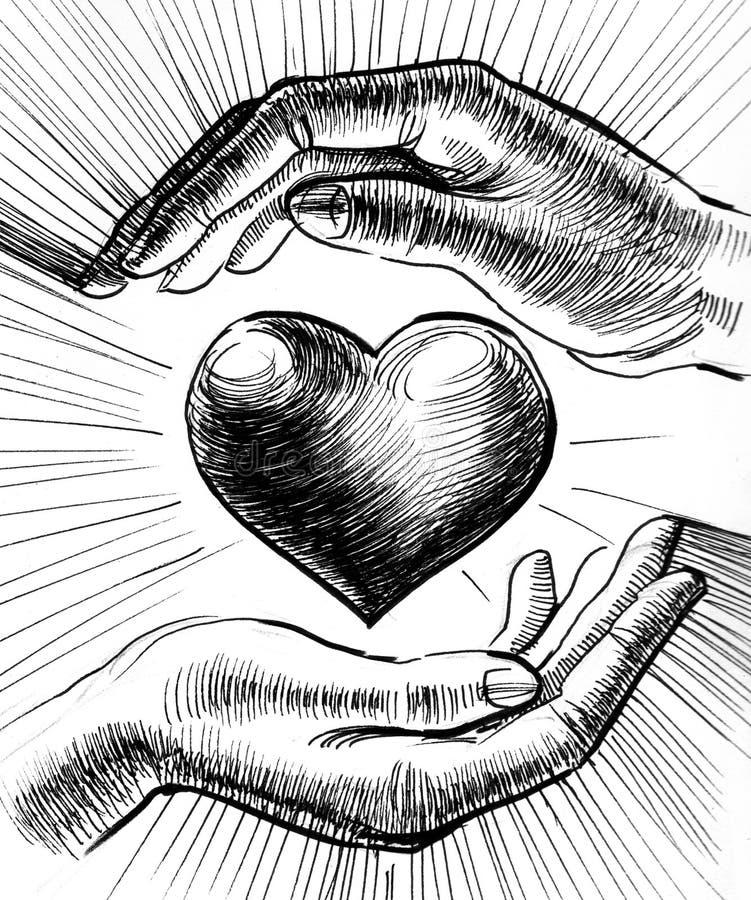 hands hjärta stock illustrationer