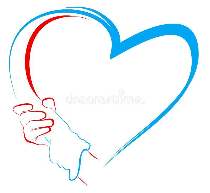 hands hjärtaholdingform till stock illustrationer