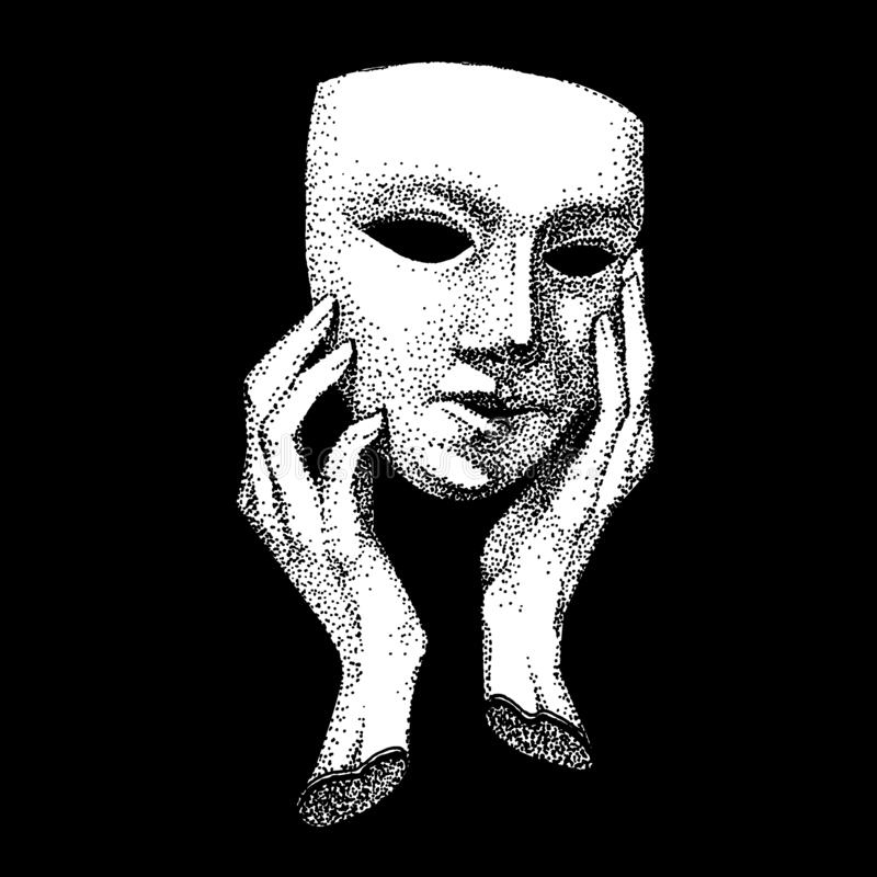 Free Hands Hold A Theater Mask. Dot Technique Of Drawing. Hypocrite, Pretender, Trickster, Many Faces. Vintage Black And Stock Image - 195335671