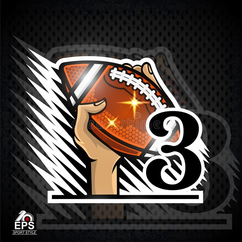 Hands hold american football ball with number three. Sport logo. For any team or competition royalty free illustration