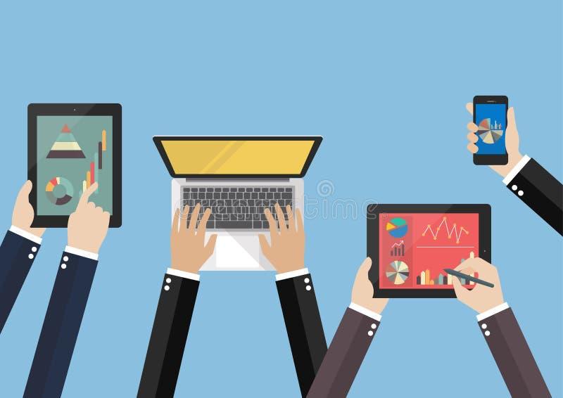 Hands hold device electronics gadget. Laptop phone tablet flat vector illustration vector illustration