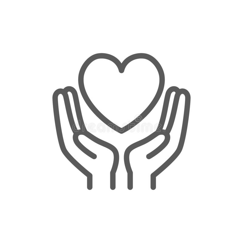 Hands hold heart, charity, donation, valentine day line icon. stock illustration