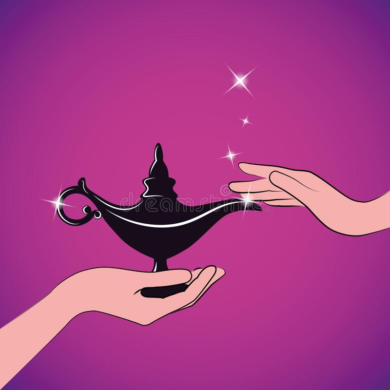 Hands hold a magic aladdin miracle lamp. Womans hands hold a magic aladdin miracle lamp vector illustration EPS10 royalty free illustration