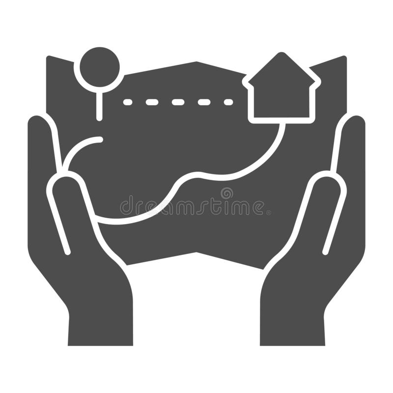 Hands hold paper map solid icon. Map in arms vector illustration isolated on white. Location glyph style design. Designed for web and app. Eps 10 royalty free illustration