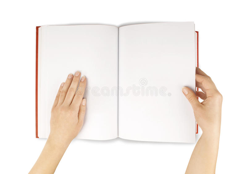 Hands hold the red book(diary) empty spread isolated white. stock photography