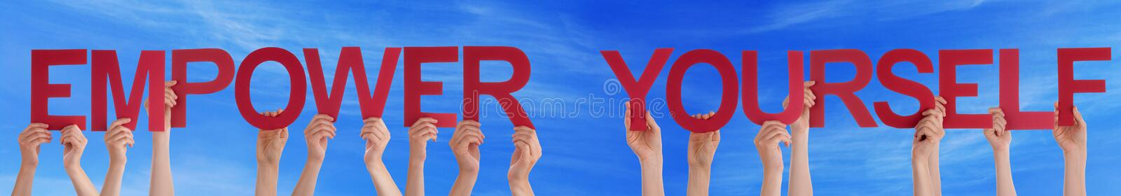 Hands Hold Red Straight Empower Yourself Blue Sky royalty free stock photography