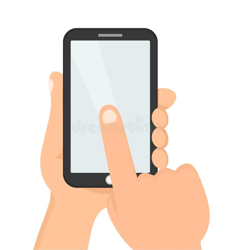 Hands hold smartphone.Finger touch vector illustration