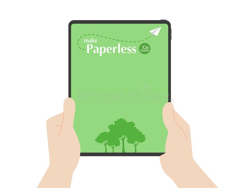 Hands hold tablet trees and rocket paper fly around paperless logo go green concept idea vector illustration