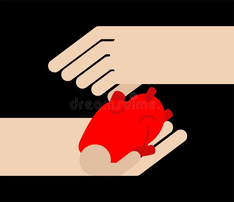 Hands holding anatomy heart. Symbol of love. Vector illustration.  stock illustration