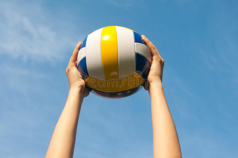 Hands Holding Ball For Volleyball Stock Photography