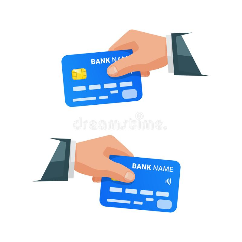 Hands holding bank cards. Isolated businessman holding credit card. Hand with NFC payment credit card. Bank card with contactless vector illustration