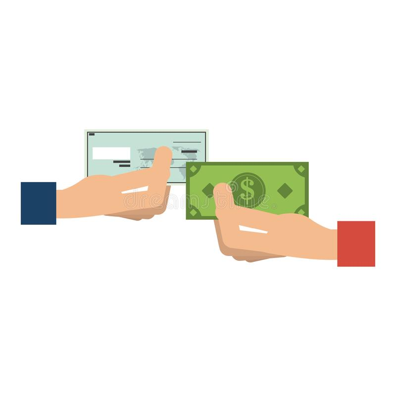 Hands holding bank check and cash stock illustration