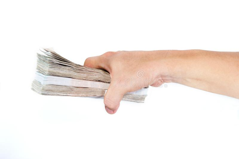 Hands holding banknotes on white background royalty free stock photo