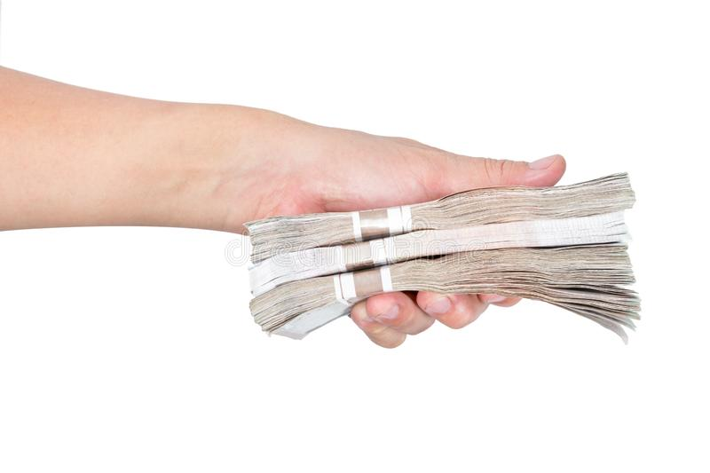 Hands holding banknotes on white background stock image