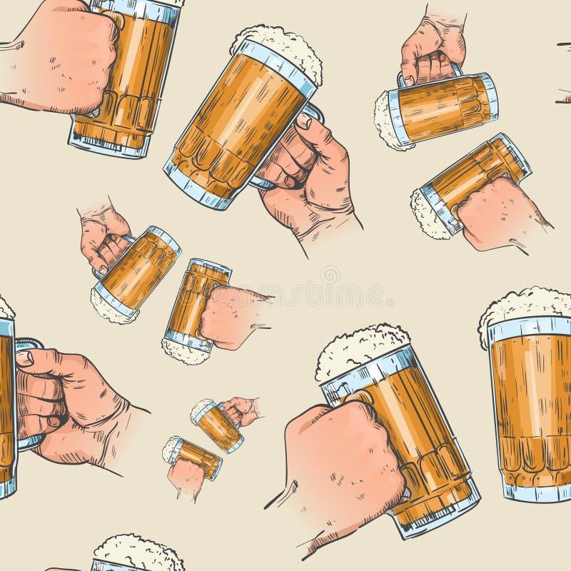 Hands Holding Beer Mugs Seamless Pattern Oktoberfest Festival Holiday Decoration Banner. Vector Illustration stock illustration