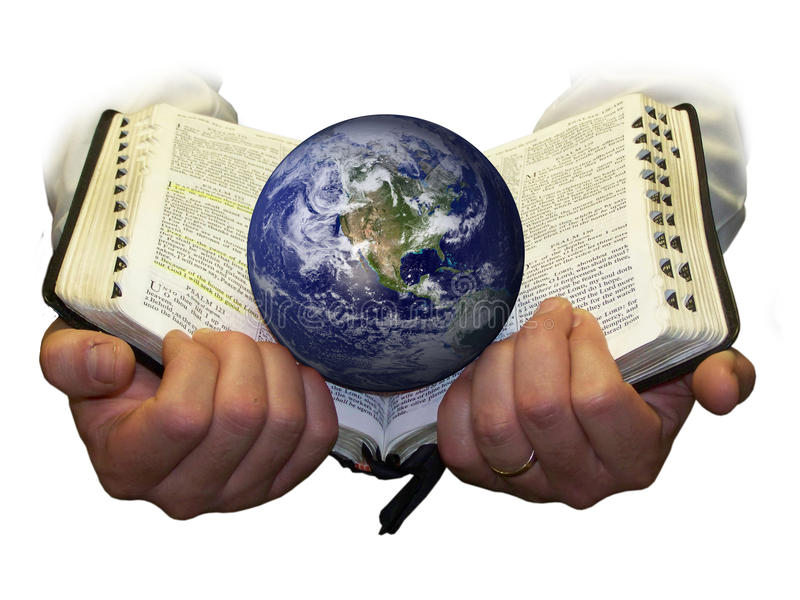 Hands holding Bible and Globe - WHITE stock photos