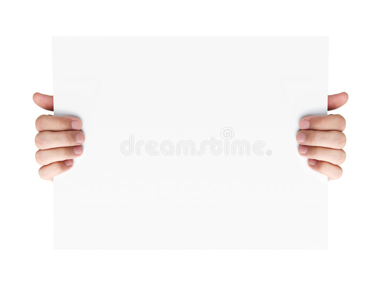 Hands holding blank advertising card royalty free stock photo