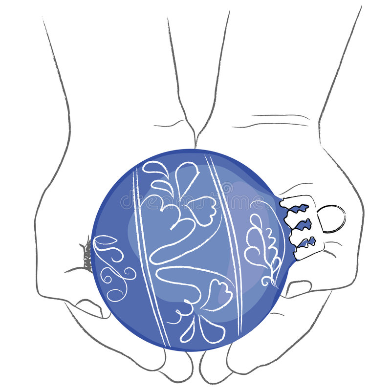 HANDS HOLDING a blue CHRISTMAS GLOBE stock image