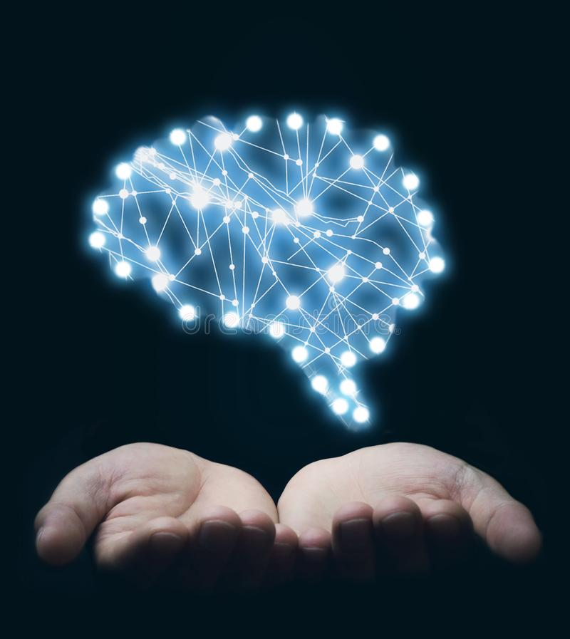 Hands holding brain. Inspiration and creativity concept royalty free stock photos