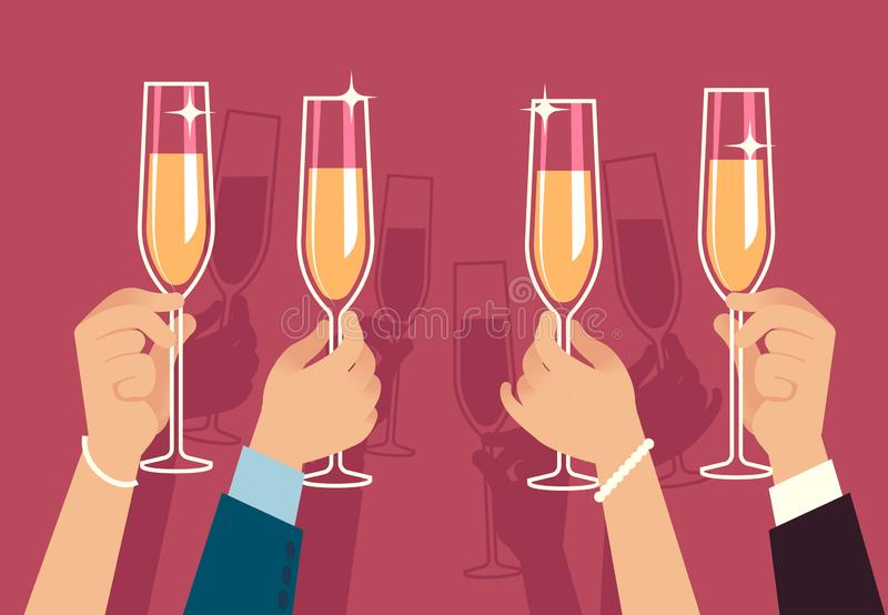 Hands holding champagne glasses. People celebrate corporate christmas party with alcohol drinks anniversary event flat royalty free illustration