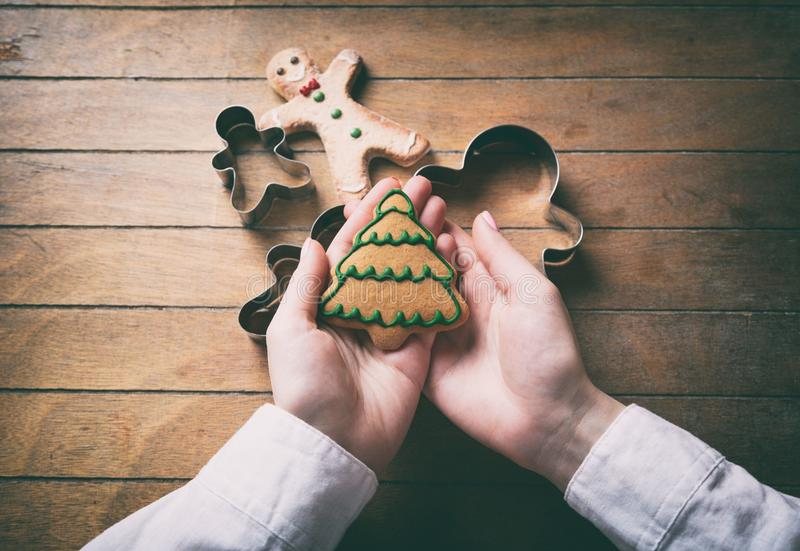 Hands holding christmas tree cookie royalty free stock images