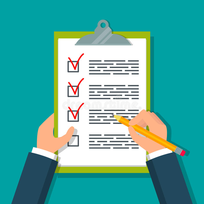 Hands holding clipboard with checklist. stock illustration