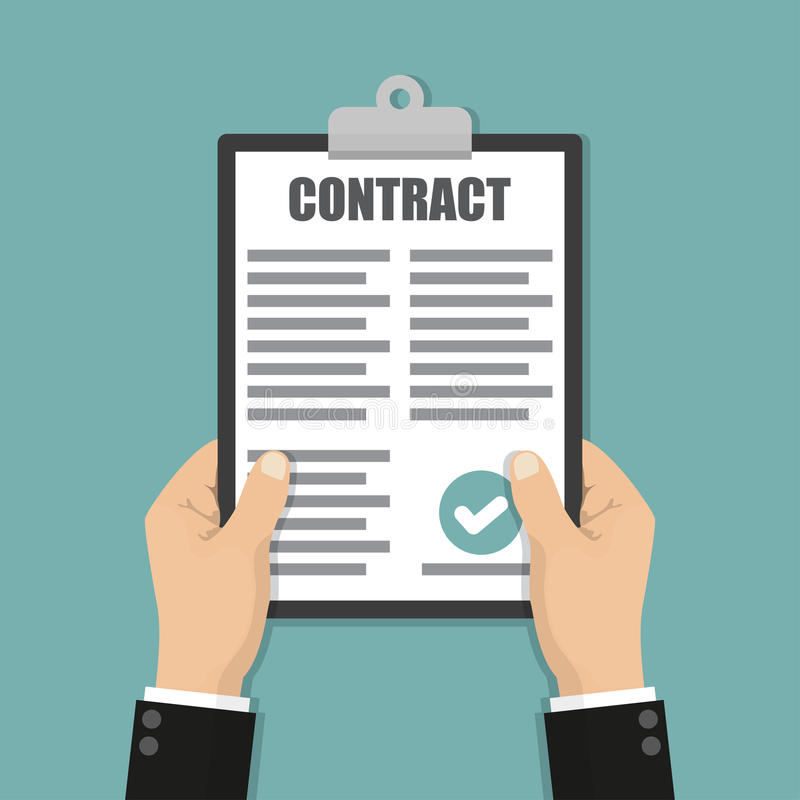 Hands holding clipboard with contract document in a flat design vector illustration