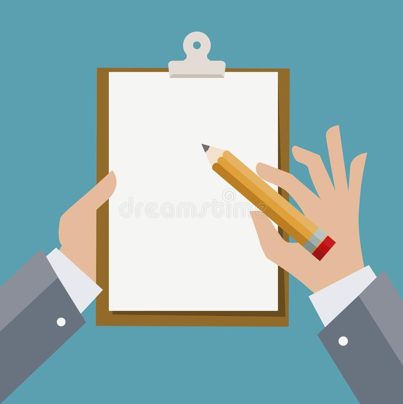 Hands holding clipboard with sheet of paper and pencil. - Illustration vector illustration