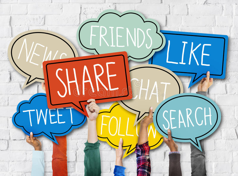 Hands Holding Colorful Speech Bubbles Social Media Concept stock images