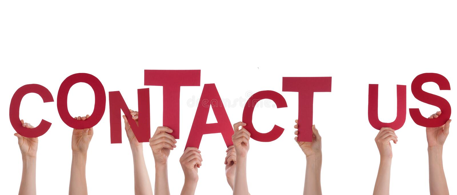 Hands Holding Contact Us. Many Hands Holding the Red Words Contact Us, Isolated royalty free stock photos