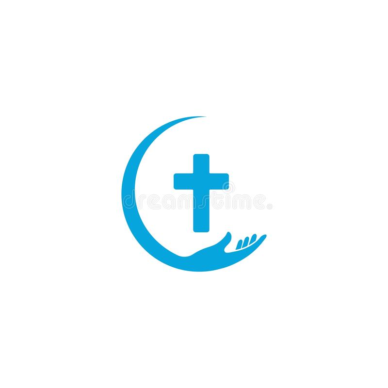 Hands holding Cross, icons or symbols. Religion, Church vector logo illustration royalty free illustration