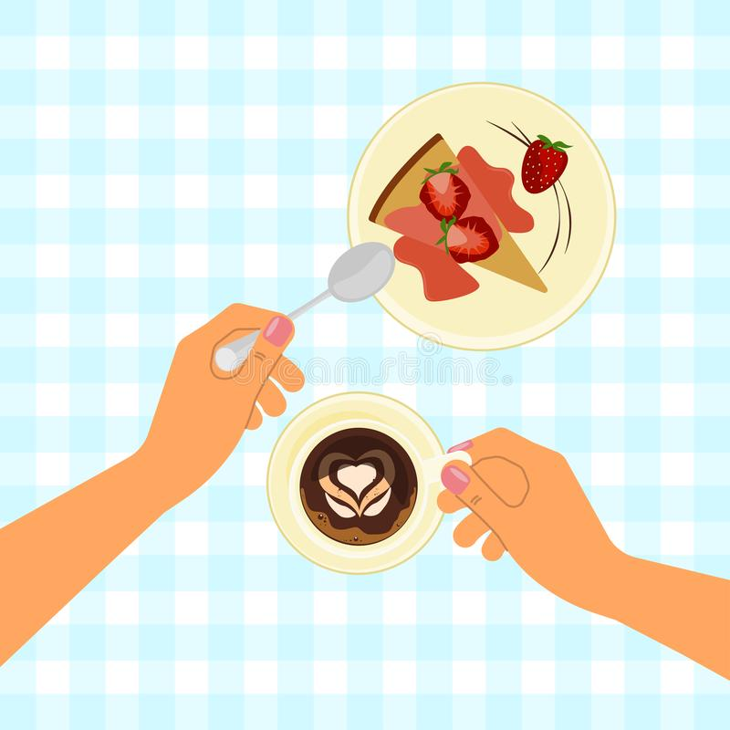Hands holding a cup vector illustration