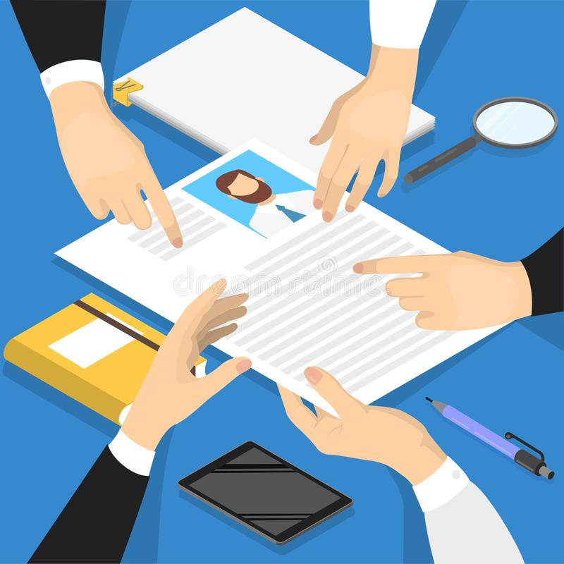 Hands holding CV profile and make examination. stock illustration