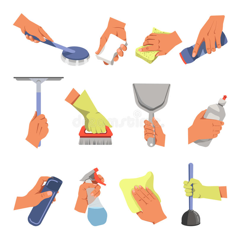 Hands holding different cleaning tools vector flat icons set. Hands holding domestic cleaning tools. Vector flat icons of floor cloth or duster rag, dust broom royalty free illustration
